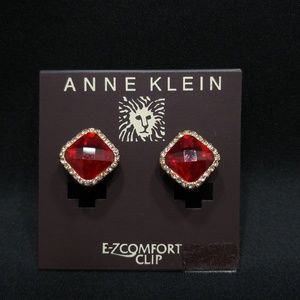 Anne Klein Red & Clear Rhinestone Clip Earrings